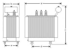 500 kVA, 10/0,4/0,4 kV +-4 %, Yyn6d5, Ausdehner