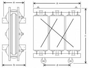1200 kVA, 10/0,5 kV +-2 x 5 %, Yy0, Gießharz