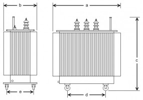 1600 kVA, 20/0,36 kV +-2 x 2,5 %, Dyn5, Hermetik